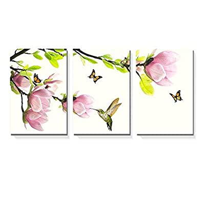 3 Panel Canvas Wall Art - Pink Magnolia Flowers with Birds and Butterflies - Giclee Print Gallery Wrap Modern Home Art Ready to Hang - 16