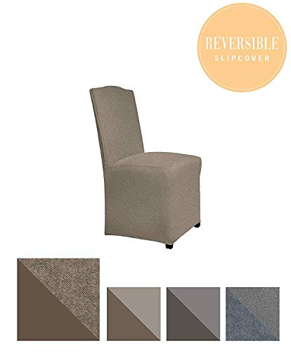 Perfect Fit Serta | Slip-Resistant Form Fitting Furniture Slipcover for Dining Chair, Long Skirt, Reversible Stretch Suede (Chocolate Herringbone/Chocolate ()