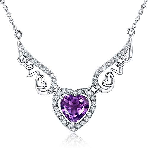 BLOVIN 925 Sterling Silver Endless Love Script Angel Wing Heart Purple Birthstone Pendant Necklace Jewelry Valentines Gifts for Womens