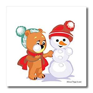 ht_61181_1 Edmond Hogge Jr Christmas - Little Bear and Snowman - Iron on Heat Transfers - 8x8 Iron on Heat Transfer for White Material