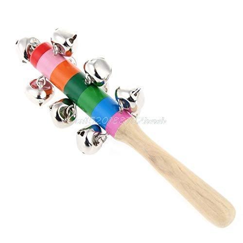 BeesClover Kid Presepe Carrozzina 10-Bell Jingle Rainbow Shaker Stick in Legno Giocattolo Strumento Musicale # T026# Multicolor