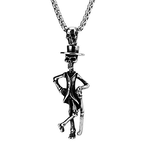 Unisex Gothic Skull Gentlemen Pendant Necklace, Stainless Steel Skeleton Necklace 24inches for Men Women Jewelry Black ()