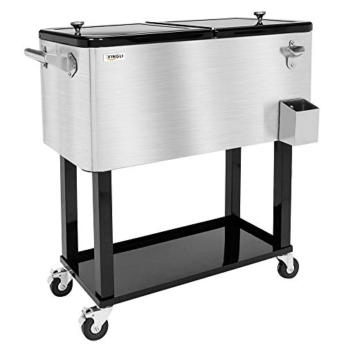 VINGLI 80 Quart Rolling Ice Chest on Wheels, Portable Patio Party Bar Drink Cooler Cart, with Shelf, Beverage Pool with Bottle Opener,Water Pipe and Cover (Stainless Steel) (100 Qt Stainless Steel Cooler On Wheels)