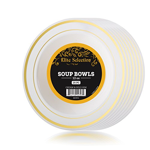 Disposable Plastic Bowls Pack Of (25) Elegant Soup bowls - Wedding - Party Bowls - Fancy Disposable - China Look- White With Gold Rim - Catering - Heavy Duty & ()