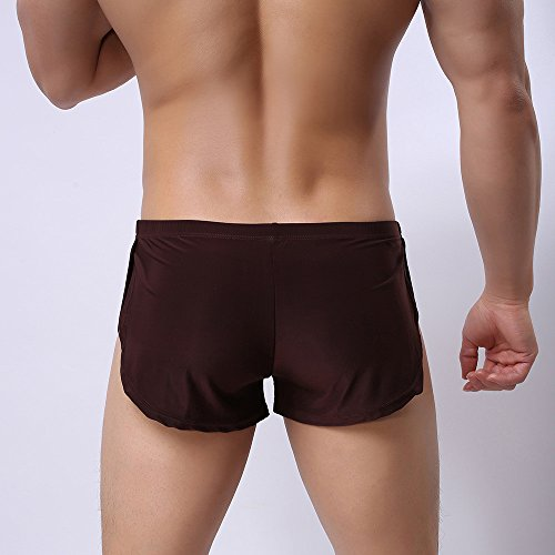 Men Sexy Underwear,LuluZanm Male Letter Pure Color Shorts Boxer Briefs Bulge Pouch Underpants Coffee by Luluzanm-Shorts (Image #2)