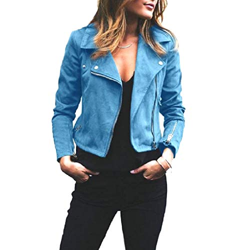 Howme-Women Short Mini Turn-Down Collar Zip Outwear Overcoat Jacket Light Blue