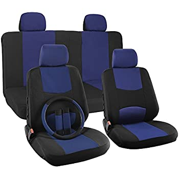 OxGord 17pc Set Flat Cloth Mesh Blue & Black Broken Stripe Seat Covers Set - Airbag Compatible - Front Low Back Buckets - 50/50 or 60/40 Rear Split Bench - 5 Head Rests - Universal Fit for Car, Truck, Suv, or Van - FREE Steering Wheel Cover