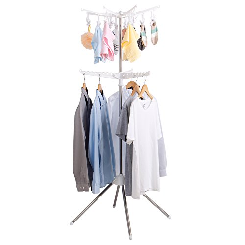 Lifewit Sturdy Foldable 2-Tier Clothes Hanging Rack Stand Indoor&outdoor for Baby Clothes, Cloth Diapers, Bras, Towel, Underwear