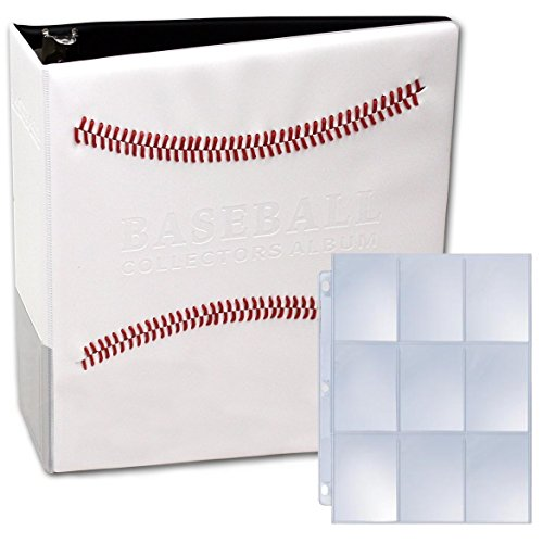 (BCW 2 White Stitched Baseball Card Collectors Album with 50 Premium 9 Pocket Pages Included)