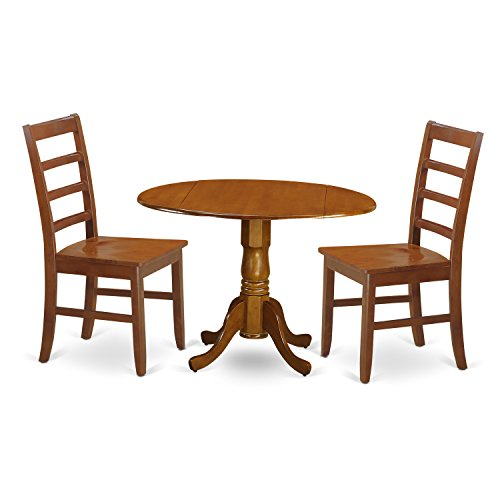 East West Furniture DLPF3-SBR-W 3Piece Kitchen Table Set-Small Kitchen Table & 2 Wood Seat Kitchen Chairs
