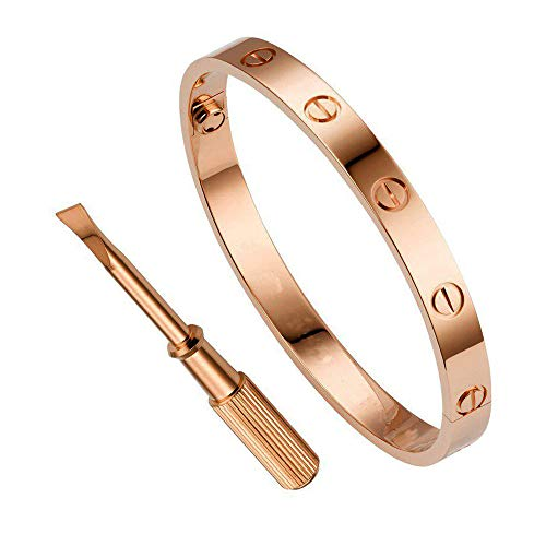 - QUEEN JULIA Bracelets for Women Love Bracelet Bangle for Couples Buckle Pulseras de Mujer Titanium Steel Girlfriend Boyfriend Valentines Wedding 6.7inch 17cm