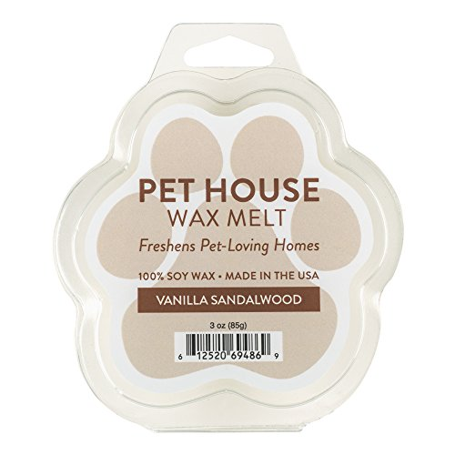 One Fur All Pet House Wax Melts, Pack of 2 - Vanilla Sandalwood - Long Lasting Pet Odor Eliminating Wax Melts, 100% Natural Soy Wax Melts, Non-Toxic Pet Wax Melts, Dye-Free, Unique, Made in USA