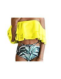 Hujukuludusu Women's Bikini 2pc Sets Ruffle Off Shoulder Top Leaf Printed Bottom Swimsuit Bathing Suit