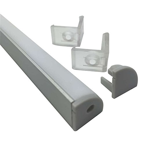 LightingWill 20-Pack V-Shape LED Aluminum Channel System 6.6ft/2M Anodized Silver Corner Mount Profile for <12mm width SMD3528 5050 LED Strips with Curved Cover, End Caps and Mounting Clips V02S2M20 by LightingWill (Image #3)