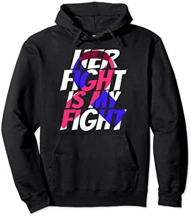 Red & Blue Ribbon for Her Pulmonary Fibrosis Awareness Pullover Hoodie