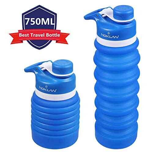 Hoklan Collapsible Water Bottle For Travel 750ml Sports Water Bottles For Daypack Camping Reusable Portable Foldable Water Bottles For Running Hiking Fitness Bpa Free Fda Approved Leak Proof 25oz