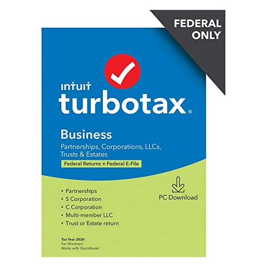 TurboTax Business 2020 Desktop Tax Software, Federal Return Only + Federal E-file [PC Download]