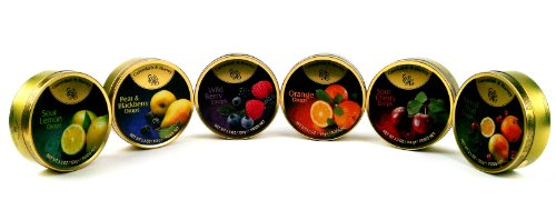 Cavendish & Harvey Drops 6-Flavor Variety: One 5.3 oz Tin Each of Orange, Mixed Fruit, Pear & Blackberry, Wild Berry, Sour Cherry, and Sour Lemon in a BlackTie Box (6 Items Total) by Black Tie Mercantile (Image #3)