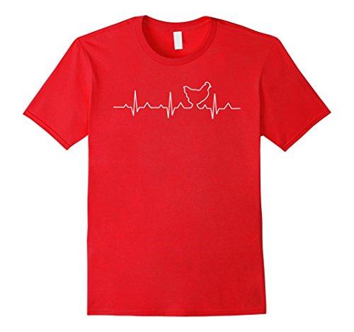 [Men's Chicken T-Shirt : I love Chicken heart beat XL Red] (Chicken Nugget Costume)