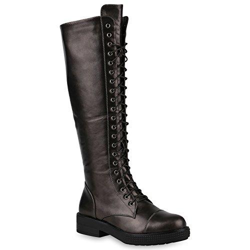 Stiefelparadies Damen Schnürstiefel Worker Boots Profilsohle Combat Boots Stiefel Leder-Optik Schuhe Blockabsatz Booties Flandell Grau Metallic Schnürung