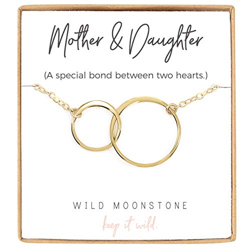 Wild Moonstone Mother and Daughter - Infinity Necklace - 2 Interlocking Circles - Dainty 14k Gold Filled Jewelry - 16