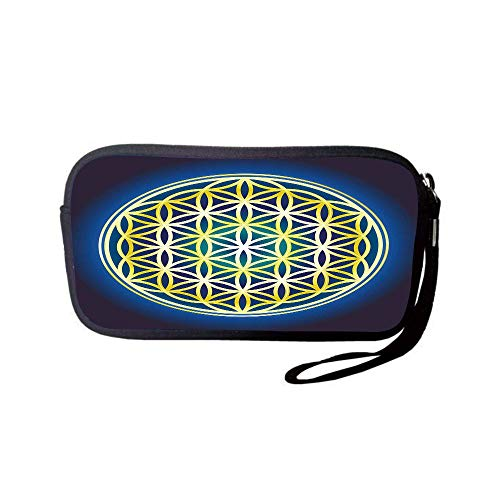iPrint Neoprene Wristlet Wallet Bag,Coin Pouch,Abstract,Nature Spirals Flower of Life Artistic Energy Sacred Illustration,Indigo Violet Blue Yellow,for Women and Kids
