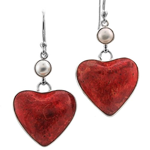 Heart Red Sponge Coral Freshwater Cultured Pearl 925 Sterling Silver Earrings, 1 1/4