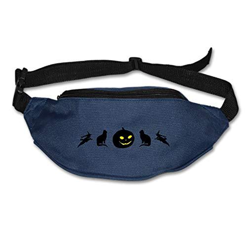 Myfa Halloween Silhouettes Pumpkin Jack O Lantern Cat Travel Fanny Bag Waist Pack Super Lightweight for Travel Cashier's Box, Tool Kit]()