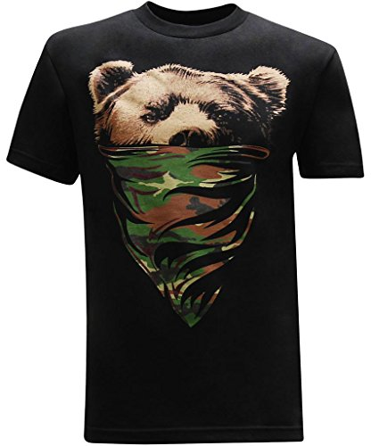 tees geek California Republic (Camo Bandana Bear) Men's T-Shirt - 3XL