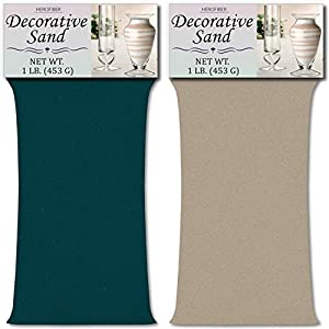 HeroFiber Colored Unity Sand (2 lbs.) - Teal and Grey - 1 lb. per Color - Decorative Art Sand for Weddings, Vase Filling, Kids' Craft Play