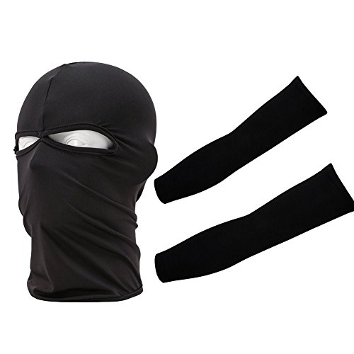 [Black Sun protection Mask Set UV Bandana 2 Hole Face Mask + Arm Cooler Sleeve Brace] (Rave Monster Costume)