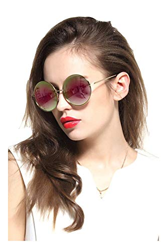 Gee-Look Oversized Round Circle Mirrored Hippie Hipster Sunglasses - Metal Frame (Pink, as picture) ()