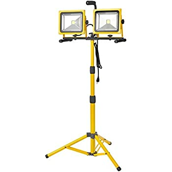 TWIN 38W COB LED FLOOD LIGHT WITH 7000 LUMEN OUTPUT. 54In Adjustable TRIPOD