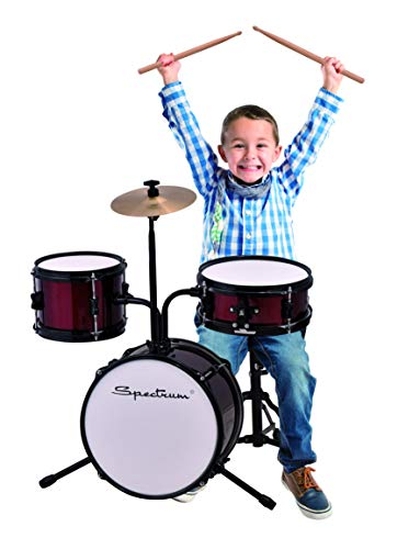 Spectrum AIL 611R 3-Piece Junior Drum Kit with Crash Cymbal & Drum Throne, Rockin' Red