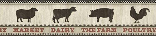 Big Bold Border (Chesapeake CTR63133B Grace Black Farmers Market Wallpaper Border)