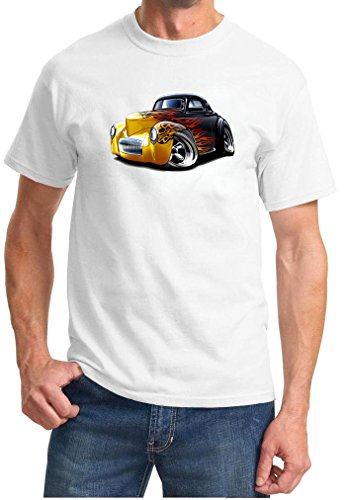 - 1941 Willys Flames Classic Hot Rod Full Color Design Tshirt 2XL White