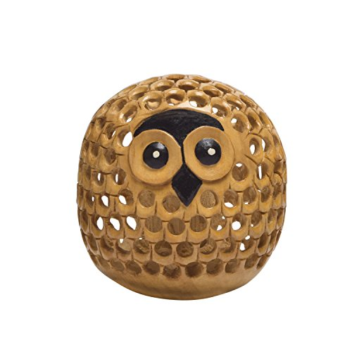 storeindya Handcarved Cute Wooden Paper Weight Baby Owl Sculpture Figurine Home Office Decor Accessory Birthday Ideas -