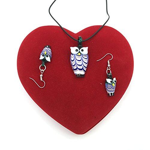 Skyllc Motif Owl Fashion Murano Boucles doreilles Collier Dangle Ensemble de bijoux