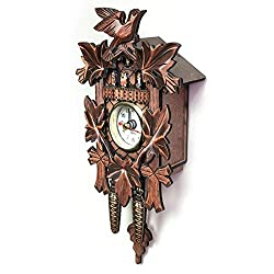 Wall Clocks - Vintage Home Decorative Bird Wall Clock Hanging Wood Cuckoo Living Room Pendulum Craft Art - Iron Hands Large Stickers Contemporary Girls Periodic Sale Sturdy Green Pink Natur
