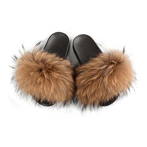 Jancoco Max Womens Luxury Real Raccon Fur Slippers Slides Indoor Outdoor Flat Soles Soft Summer Shoes Camel ()