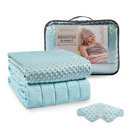 Weighted-Blanket-3-Pieces-Set-60x80-15Lb--Premium-Ultra-Soft-Removable-Cover-Weighted-Inner-Weighted-Mask-20-Plush-Breathable-Adults-Heavy-BlanketQueen-Size-BedsAqua-Dot-Minky