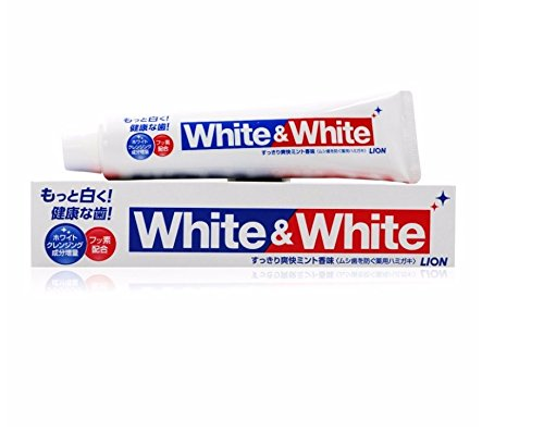 Japan Lion White&White Toothpaste Dental daily use whitening teeth Remove smokers stains, Fights plaque &decay strengthen teeth 150g