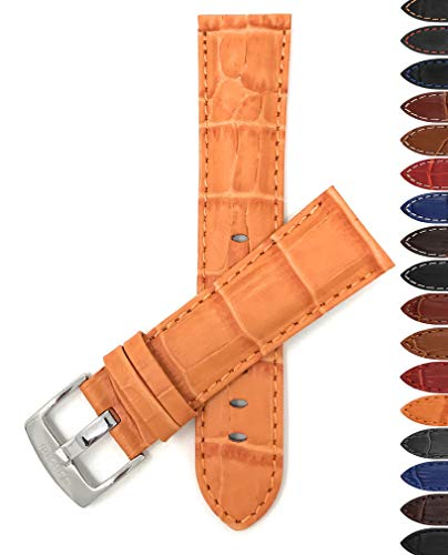 (Bandini 22mm Mens Italian Leather Watch Band Strap - Orange - Alligator Pattern )