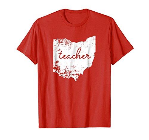 Mens Ohio Teacher Shirt Love Home State School Pride Tee 3XL Red