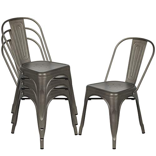Bonzy Home Metal Dining Chairs, Outdoor Indoor Stackable Chairs, Industrial Kitchen Chairs for Bistro Restaurant Patio, Set of 4(Gun)