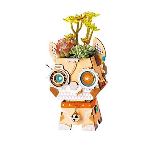 Lyhuapin Three-Dimensional Mosaic Wooden Flower pots and tiling Assembled Model Handmade DIY Wood Fleshy Flower pots Creative Flower Pot Toys (Color : -