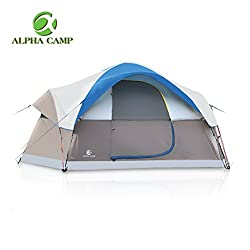 ALPHA CAMP Dome Family Camping Tent 6 Person - Blue 14' x 10'