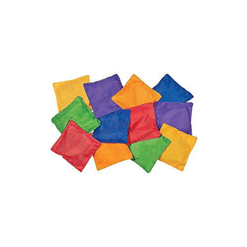 Fun Express - Educational - Dozen 5in Assorted Nylon Bean Bags Toy -