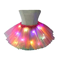 Tutu Skirt Multicolor LED Light Up Ballet Dance Running Skirt