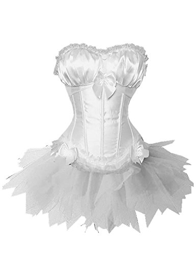 Le Beauty Corset Fashion Casual Underwire Bra White Corset Top and Mini Tutu Dress Set XL